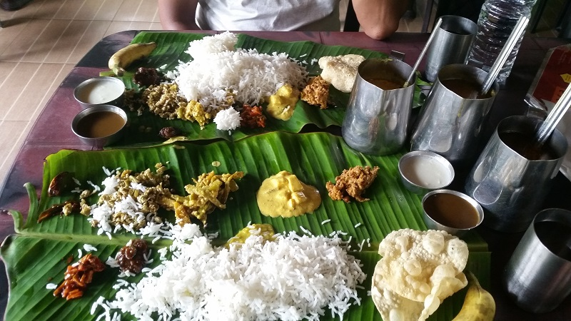 Meal on Banana Leaf in Kerala