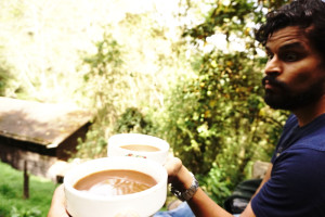 Hot chocolate drink, Acaime, Cocora Valley, Colombia