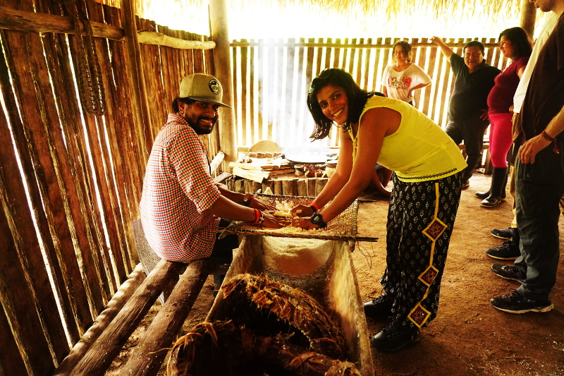 Sifting the yuca, Cuyabeno Reserve, Visit Amazon in Ecuador
