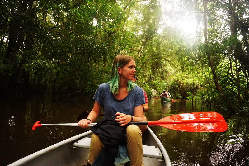 Canoeing in the jungle, Cuyabeno Reserve, Visit Amazon in Ecuador