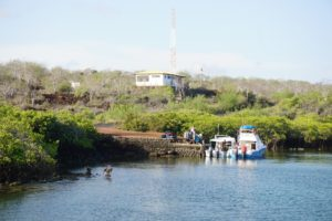 Dive boat getting ready, Santa Cruz, , Galapagos Islands, Ecuador