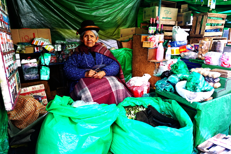 Lady selling coca leaves, Bolivia