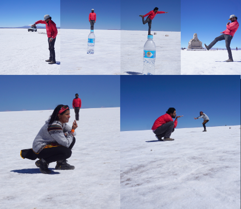 Arranged Travelers in Salar de Uyuni