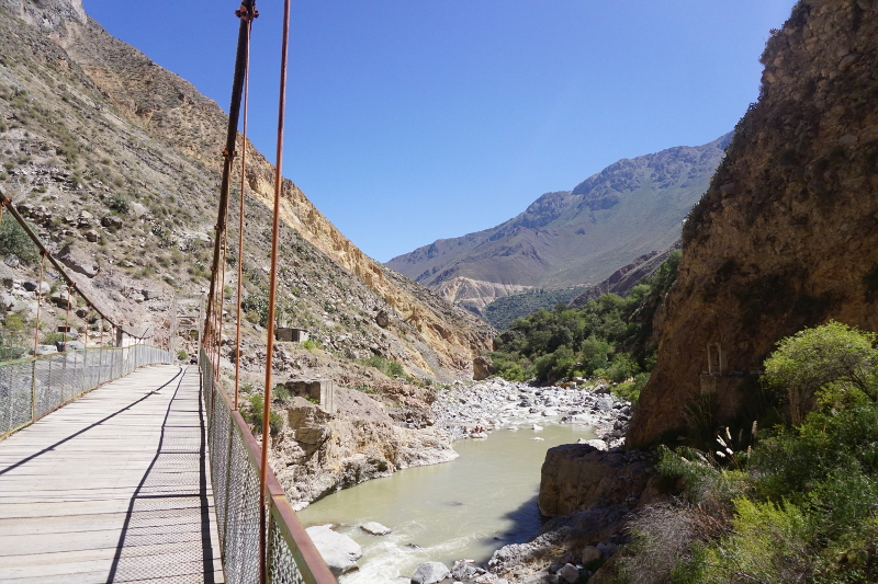 Crossing river over to San Juan, Colca Canyon