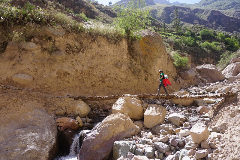 Crossing a stream, Colca Canyon