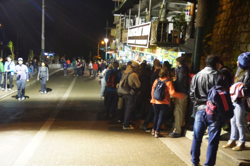 Bus queue for Machu Picchu, Machu Picchu, Peru