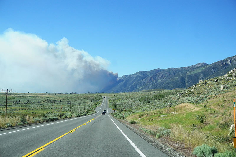 Fire on the way to Yosemite, California